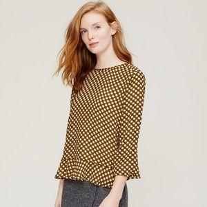 Loft Long Sleeve Yellow Patterned Petite Blouse